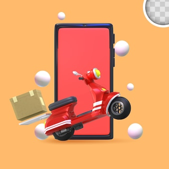 Delivery service scooter. 3d illustration