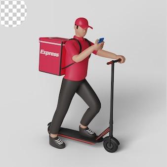 Служба доставки с концепцией скутера и смартфона. psd премиум