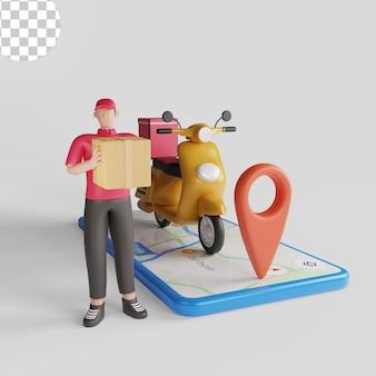 Служба доставки с концепцией скутера и смартфона