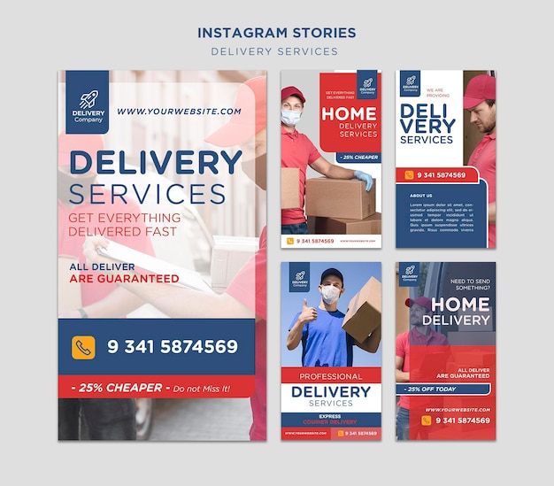 Delivery services instagram stories template