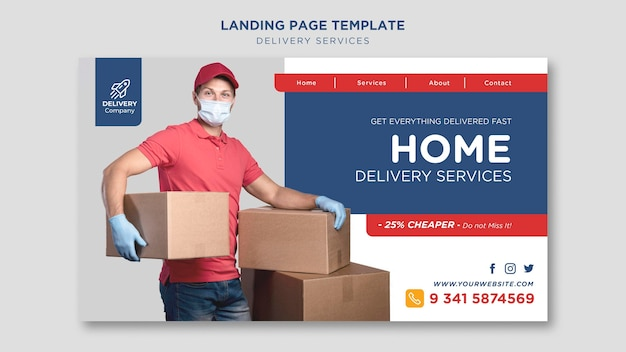 Delivery services template landing page