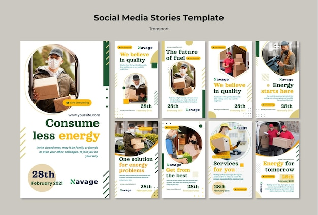 Delivery transport instagram stories template