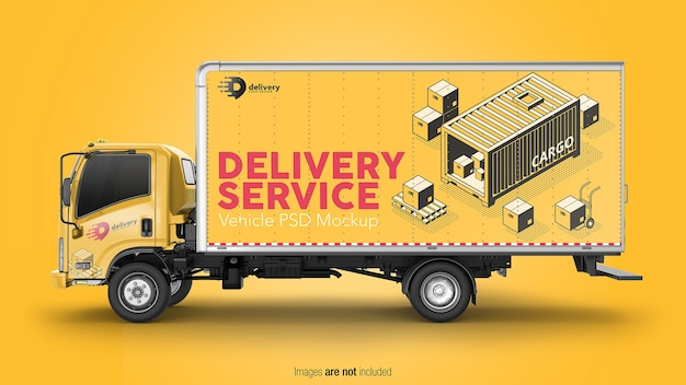 Delivery truck mockup isolated