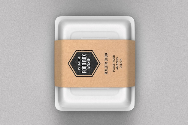Delivery white food box mockup