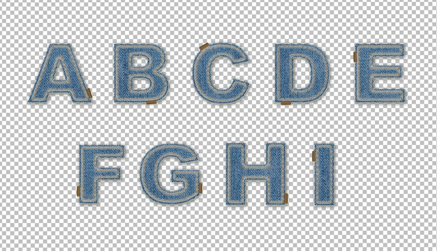 Denim effect letters a-i