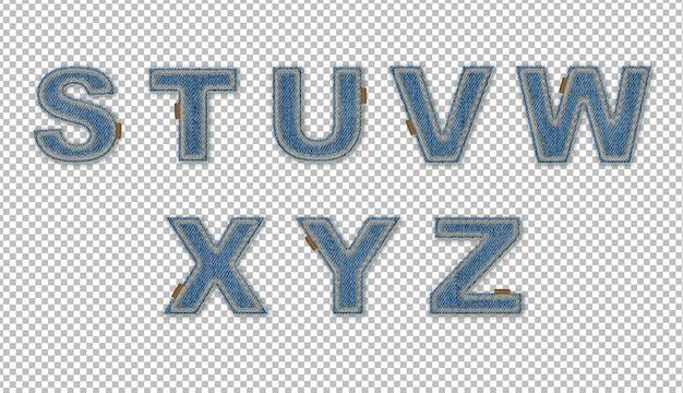 Denim effect letters s-z