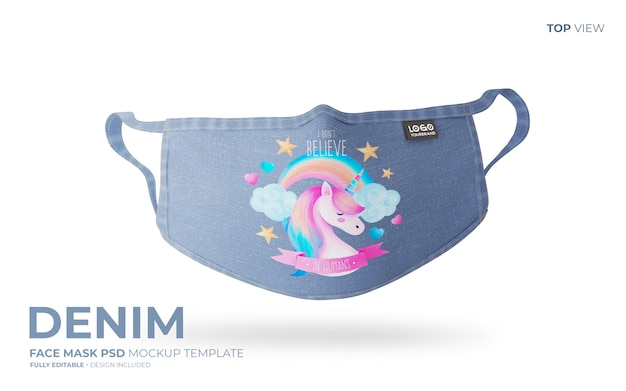 Denim face mask mockup in top view