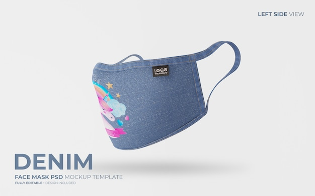 Denim face mask mockup with unicorn design