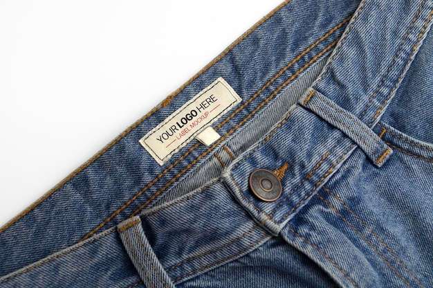 Etichetta di pantaloni in denim mockup