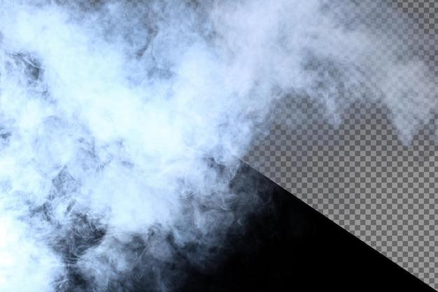 검은 배경에 흰 연기와 안개의 짙은 솜털 퍼프, a