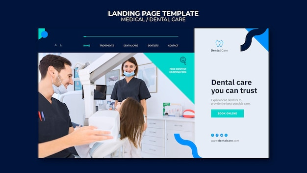Dental care landing page template