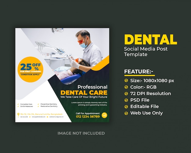 Dental care social media post template