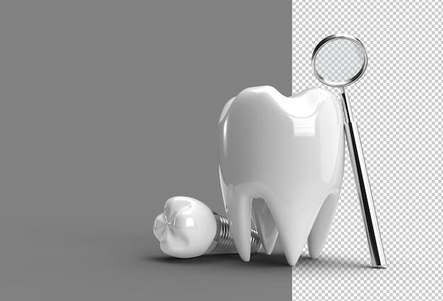 치과 임플란트 수술 개념 3d 렌더링 투명 psd 파일