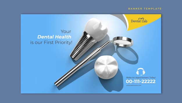 Dental implants surgery concept horizontal banner template