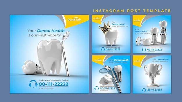 Dental implants surgery concept instagram stories banner template