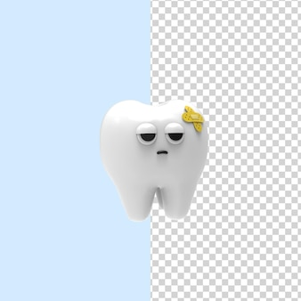Dental insurance and healthcare 3drendering design sick and suffering tooth character