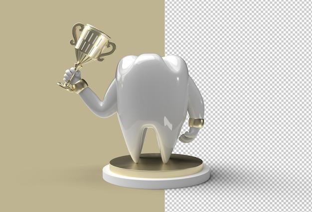 Зубной зуб с трофеем 3d-рендеринг прозрачный файл psd