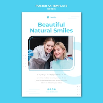 Modello di poster pubblicitario del dentista
