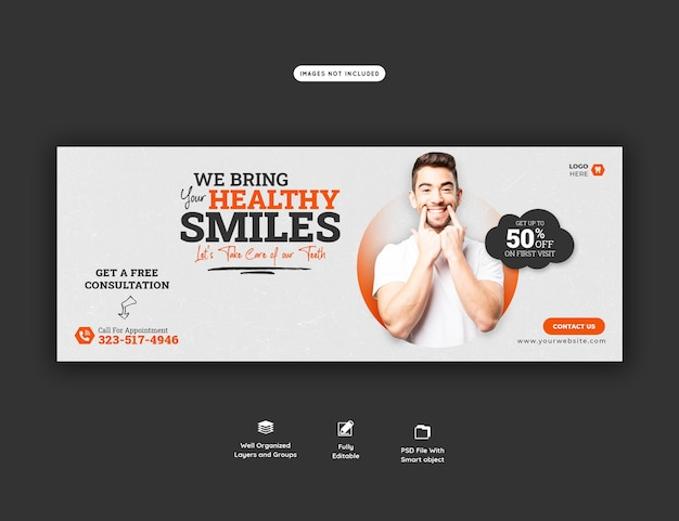Dentist and dental care facebook cover template