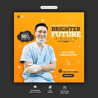 Dentist and dental care social media banner template