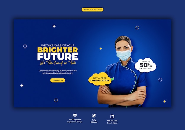 Dentist and dental care web banner template