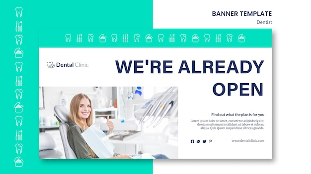 Dentist horizontal banner template design
