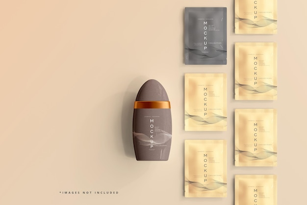 Deodorant packaging and sachet mockup