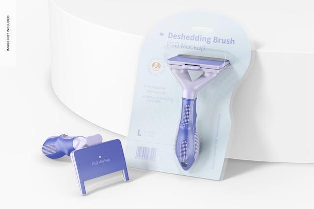 Deshedding brushes packaging mockup, perspective