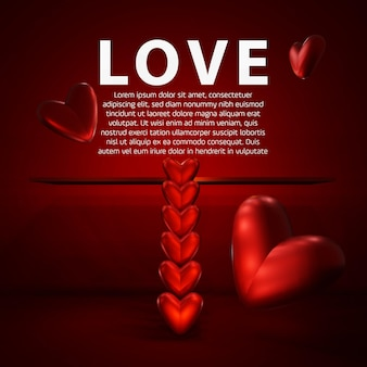 Design about love with a red background and hearts in the shape of a ladder