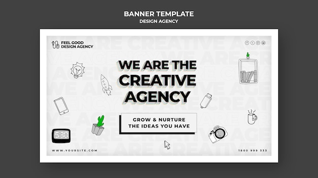 Design agency  horizontal banner template