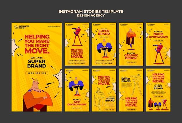 Design agency instagram stories Premium Psd