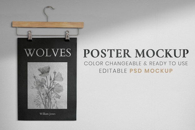 Design hanging from a clothes hanger poster mockup