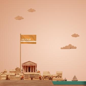 Дизайн города всемирного дня 3d строительная миниатюра