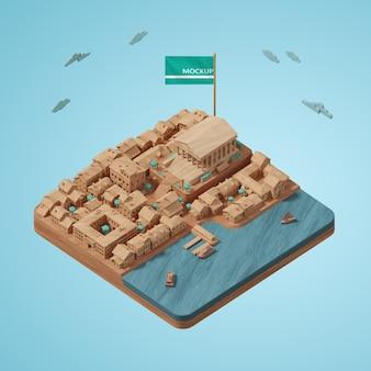 도시 세계의 날 3d 건물 모델의 디자인