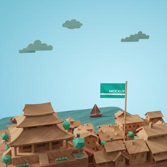 도시 세계의 날 3d 모델 미니어처 디자인