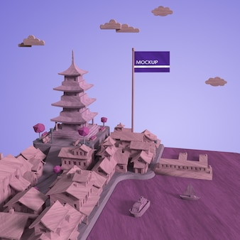 Дизайн макета городского дня мира с макетом