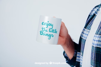Design of mock up with coffee mug