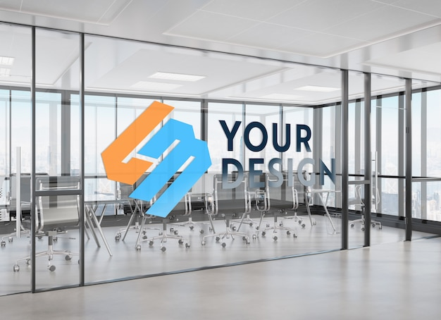 Design on office window mockup