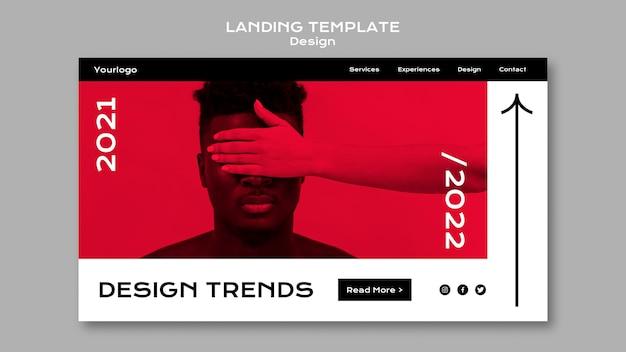 Modello di pagina di destinazione delle tendenze di design