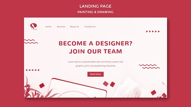 Designer drawing and painting landing page template