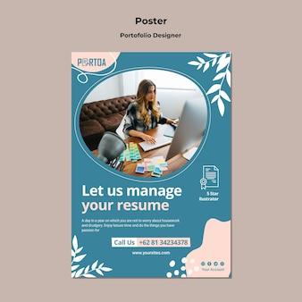 Modello di poster per portfolio di designer