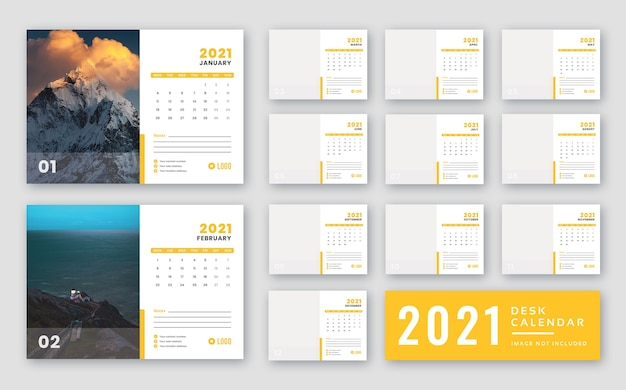 Desk calendar 2021 print ready template