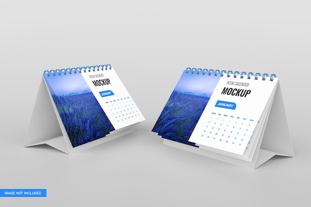 3dレンダリングの卓上カレンダーモックアップ