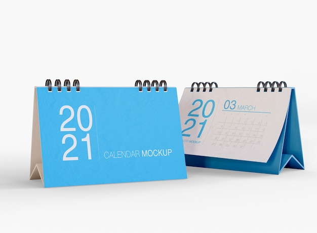 Desk calendar mockup isolated