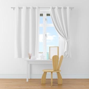 Scrivania e sedia in una stanza bianca