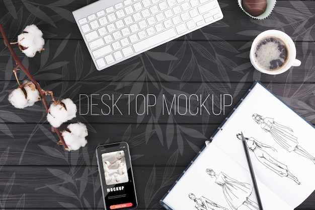 Desk concept with keyboard mock-up