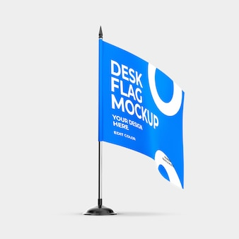 Desk flag mockup over white color