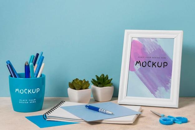 Desk stationary mockup design