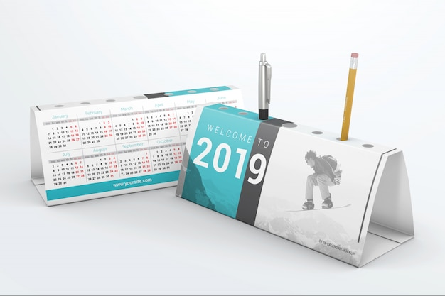 Desktop calendars with pen holder mockup