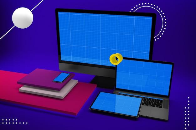 デスクトップコンピューター、ラップトップ、デジタルタブレット、モックアップ画面付きのスマートフォン